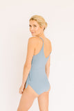 Mom Bod One Piece Slate Blue Ribbed - Olivia + Ocean