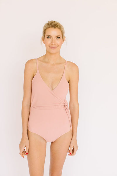 Mom Bod One Piece Rosy Peach Ribbed - Olivia + Ocean