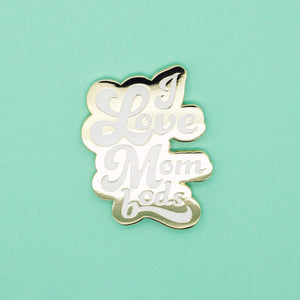 I Love Mom Bods Enamel Pin - White - Olivia + Ocean