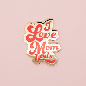 I Love Mom Bods Enamel Pin - Red - Olivia + Ocean