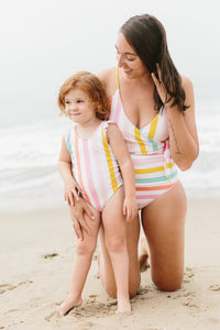 Mom Bod One Piece Rainbow Stripe - Olivia + Ocean