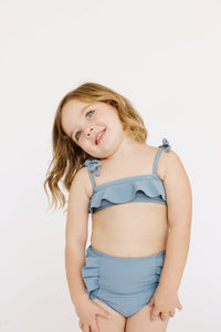 Girl's Beverly Bikini Slate Blue Ribbed - Olivia + Ocean