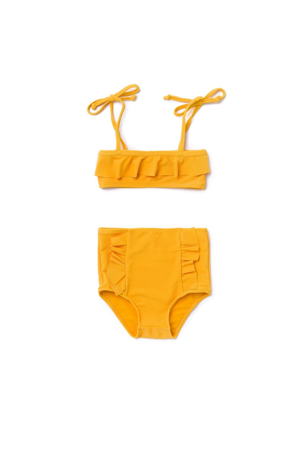 Girl's Beverly Bikini Golden Yellow Ribbed - Olivia + Ocean