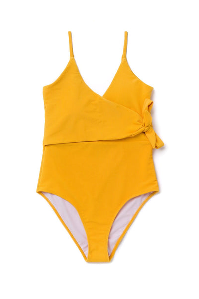 Mom Bod One Piece Golden Yellow Ribbed - Olivia + Ocean