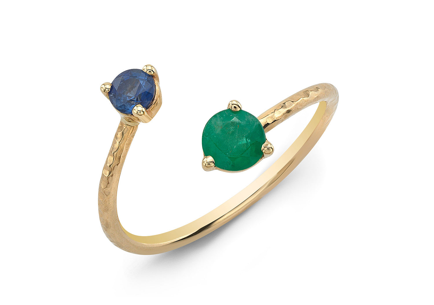 EMERALD & BLUE SAPPHIRE CROSS OVER RING