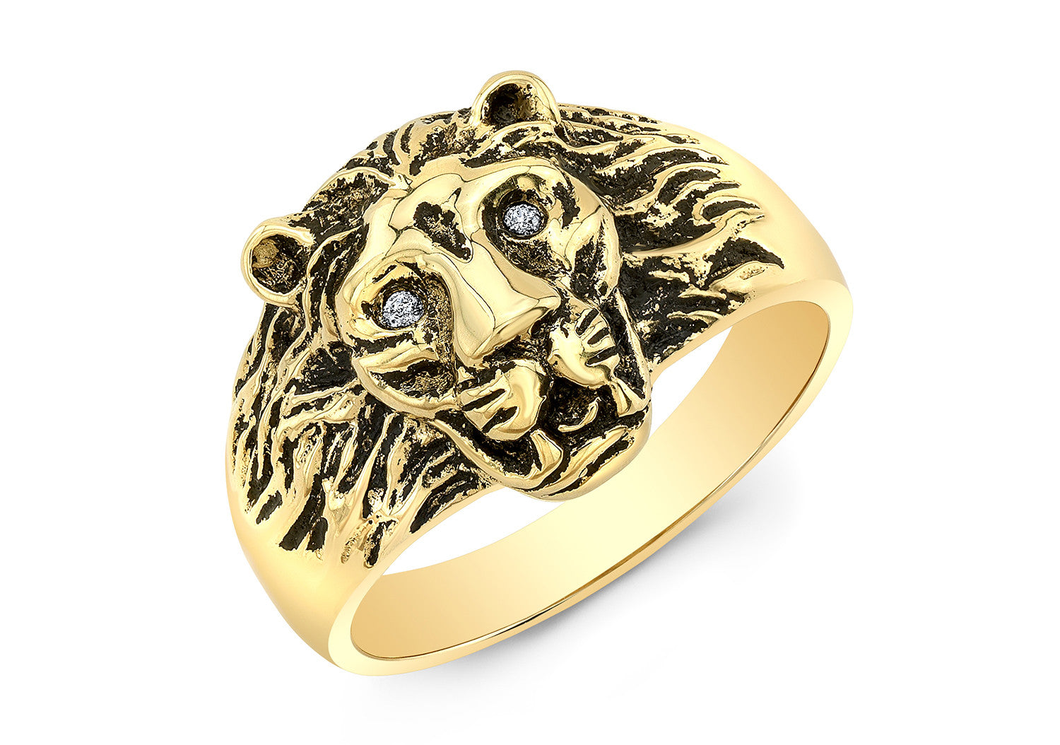 GOLD LION HEAD RING