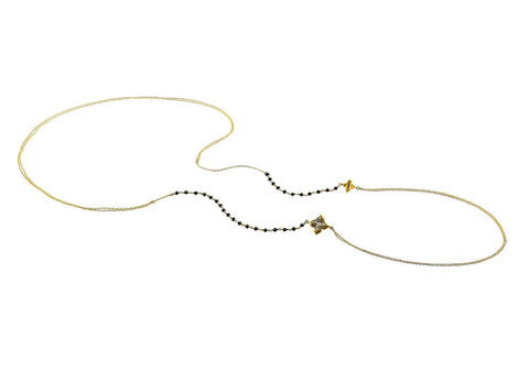 MAKE LOVE BLACK DIAMOND LARIAT NECKLACE