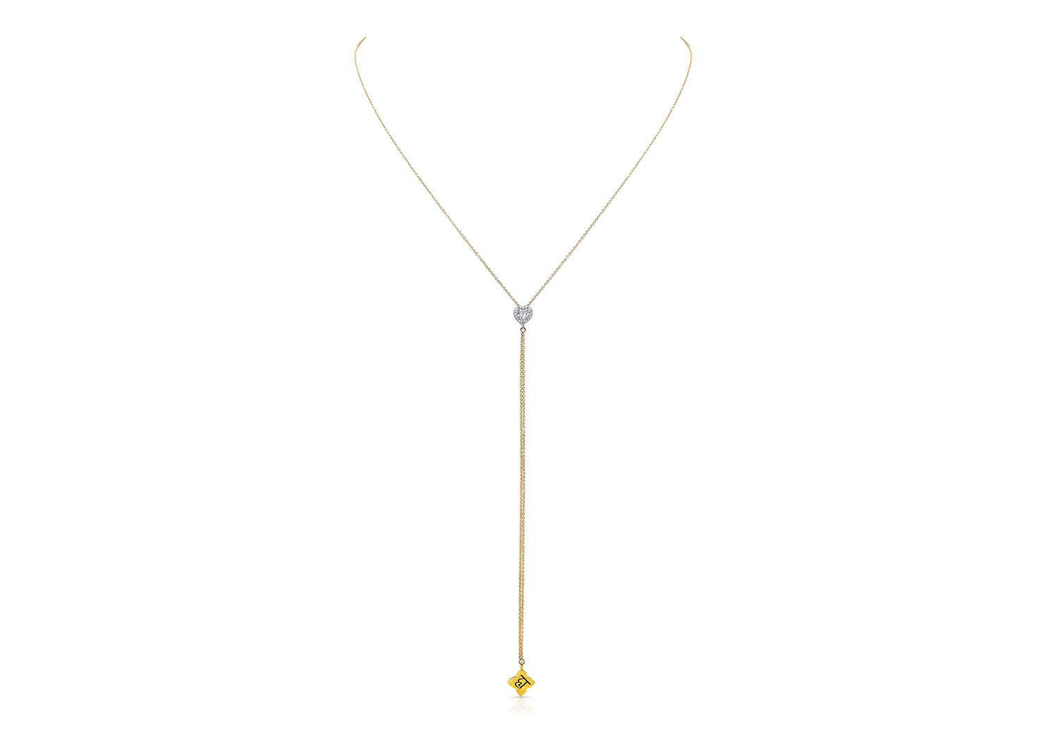 HEART DIAMOND LARIAT NECKLACE - AMRIT Jewelry