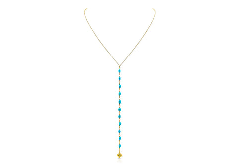 MAKE LOVE TURQUOISE LARIAT NECKLACE