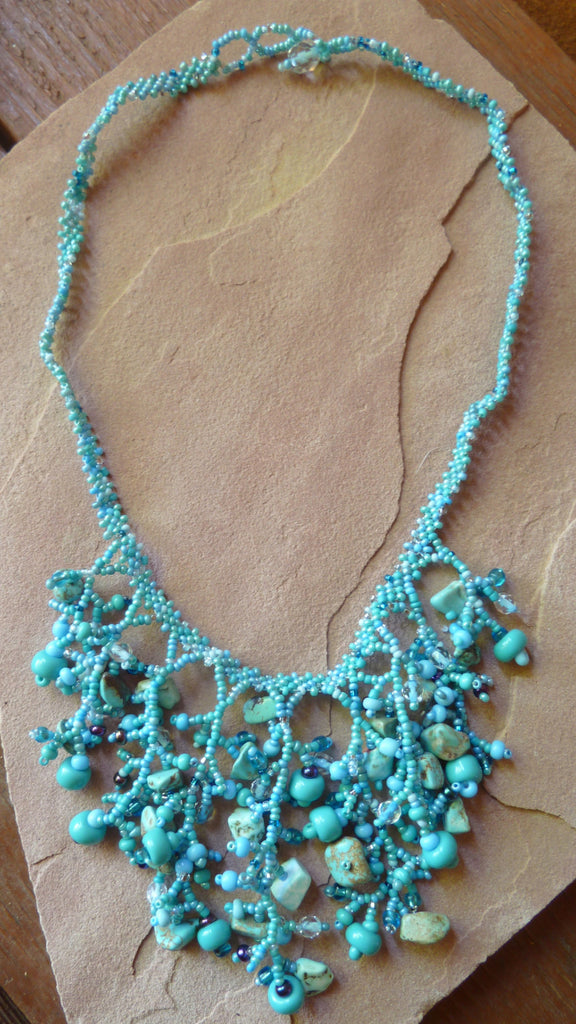 Bead and Stone Necklace - Turquoise