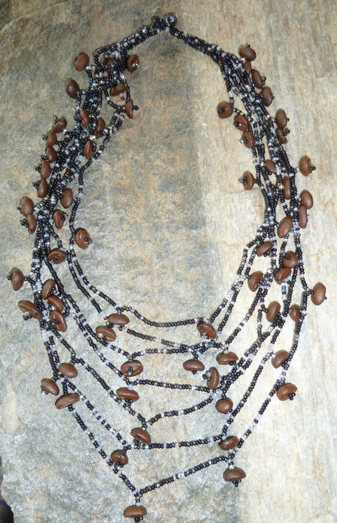 Coffee Bean and Bead Necklace