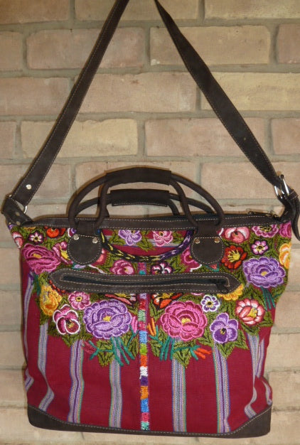 Vintage textile and leather bag 3
