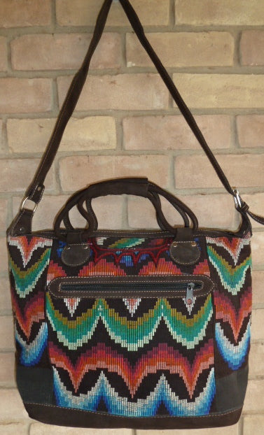 Vintage textile and leather bag 2