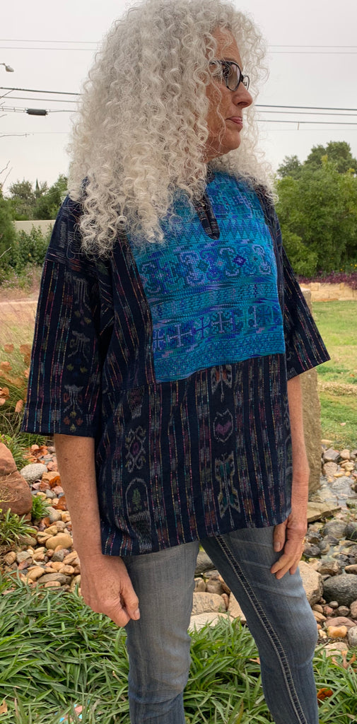 Hand-woven tunic (blues and greens)