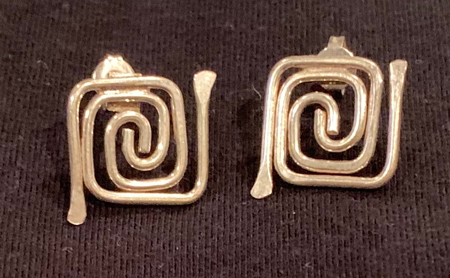 Sterling silver labyrinth earrings