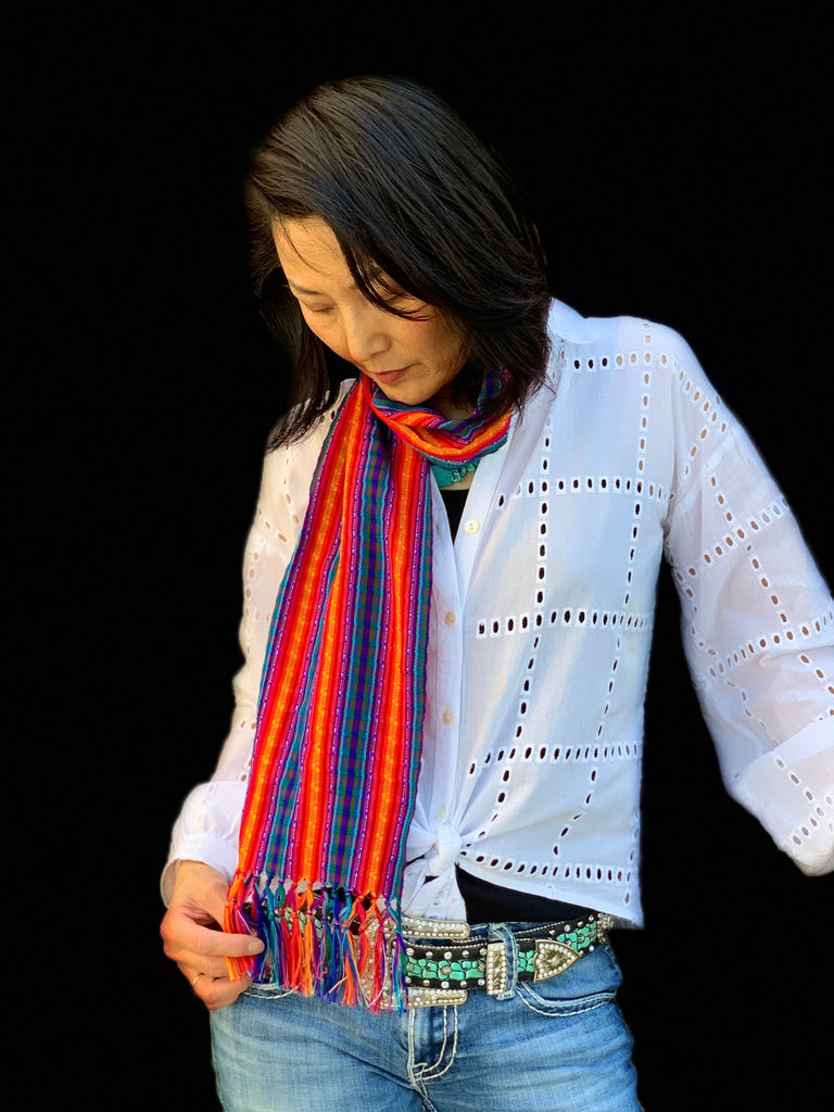 Light hand-woven cotton scarf #2