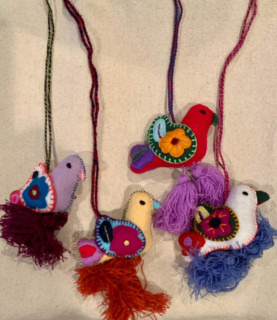 Embroidered Birds from Chiapas, Mexico