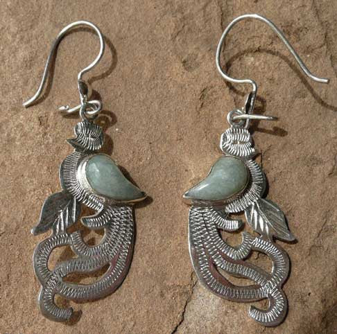 Quetzal Earrings w jade