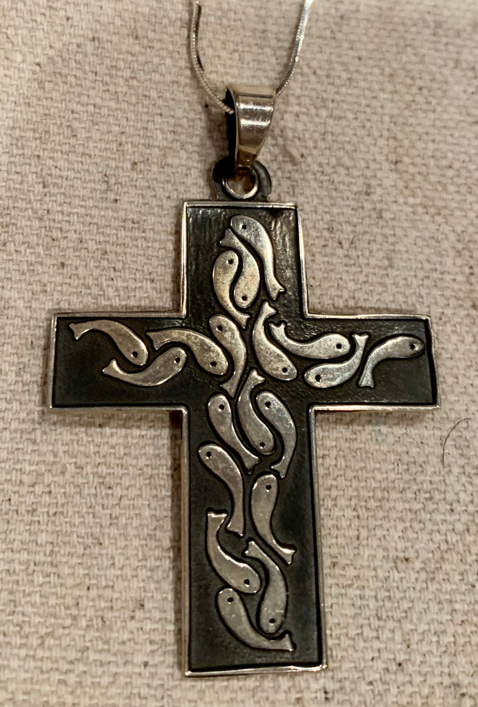 "Sterling silver cross with 18"" sterling chain"