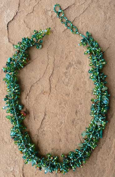 Bead and Stone Necklace - Green