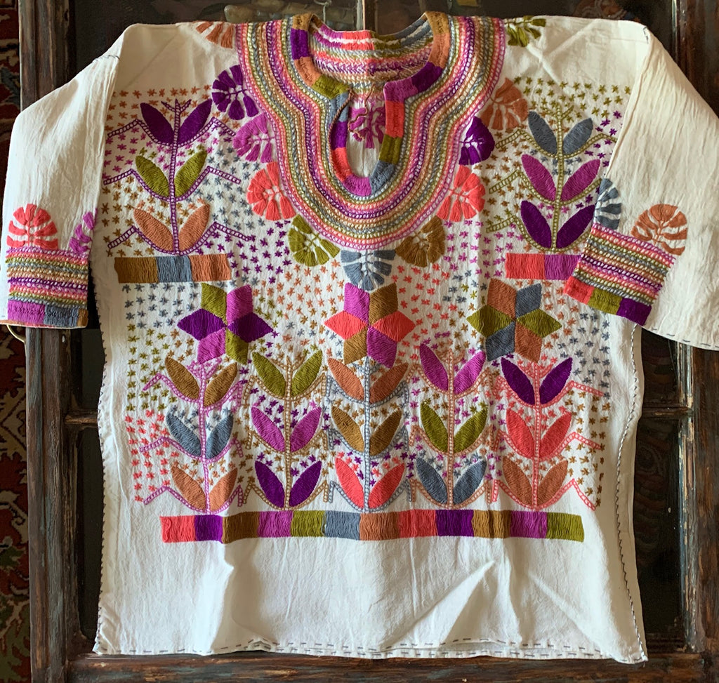 Mexican hand-embroidered corn motif blouse 2