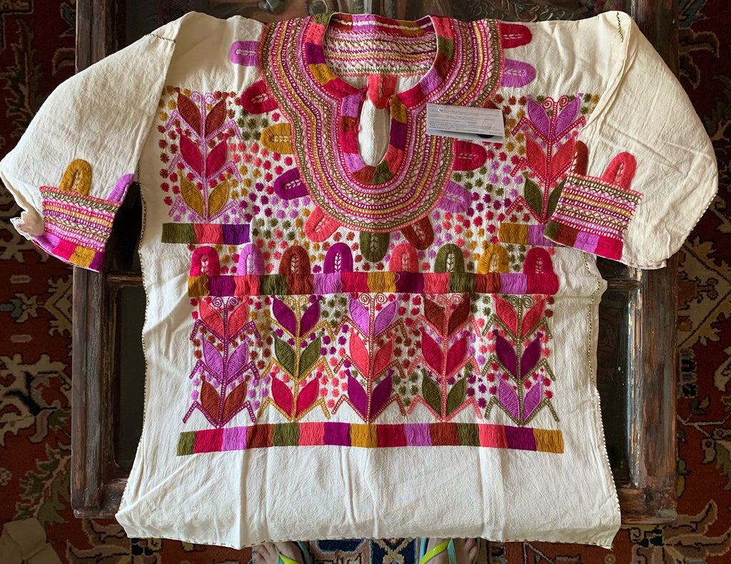 Mexican hand-embroidered corn motif blouse 3