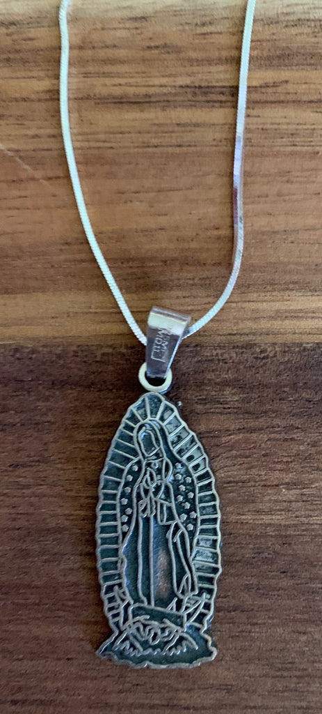 "Sterling silver Virgin of Guadalupe with 18"" sterling chain"
