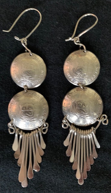 Antique Peruvian coin earrings