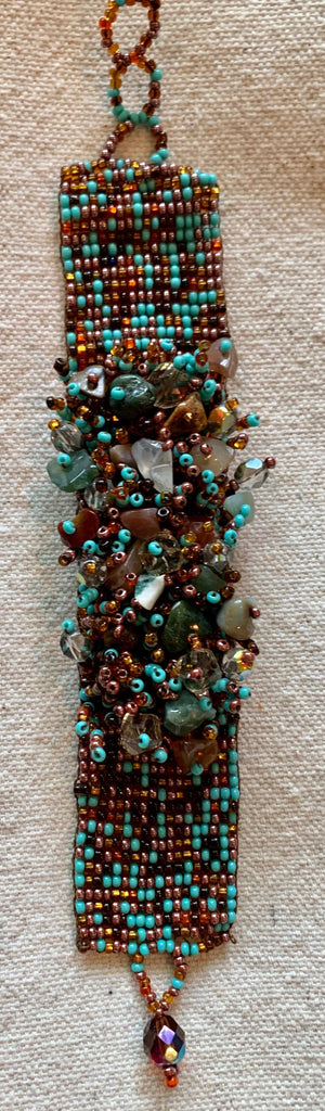 Turquoise and copper glass beads bracelet