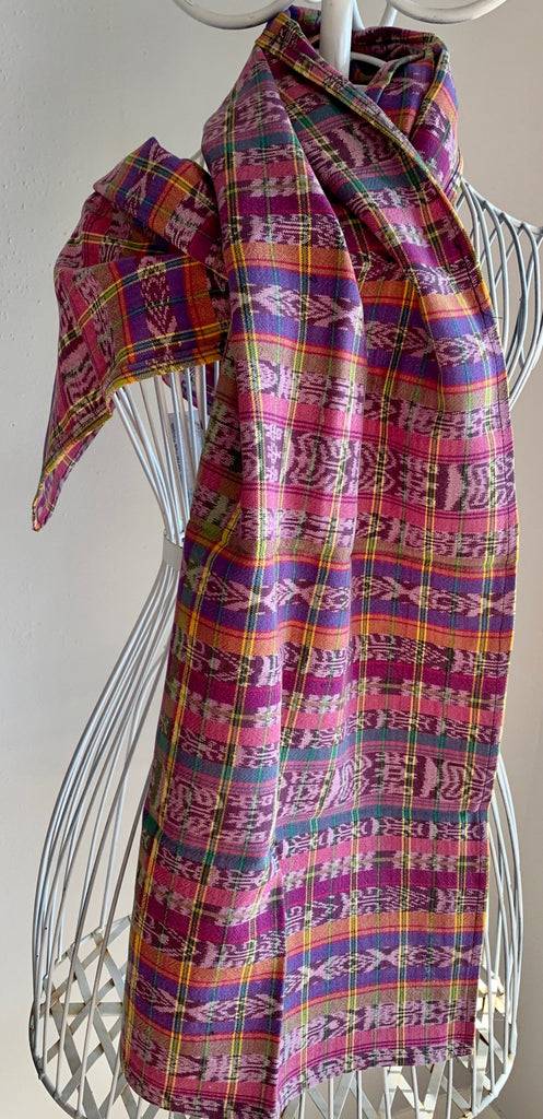 Ikat scarf made from hand-woven corte fabric
