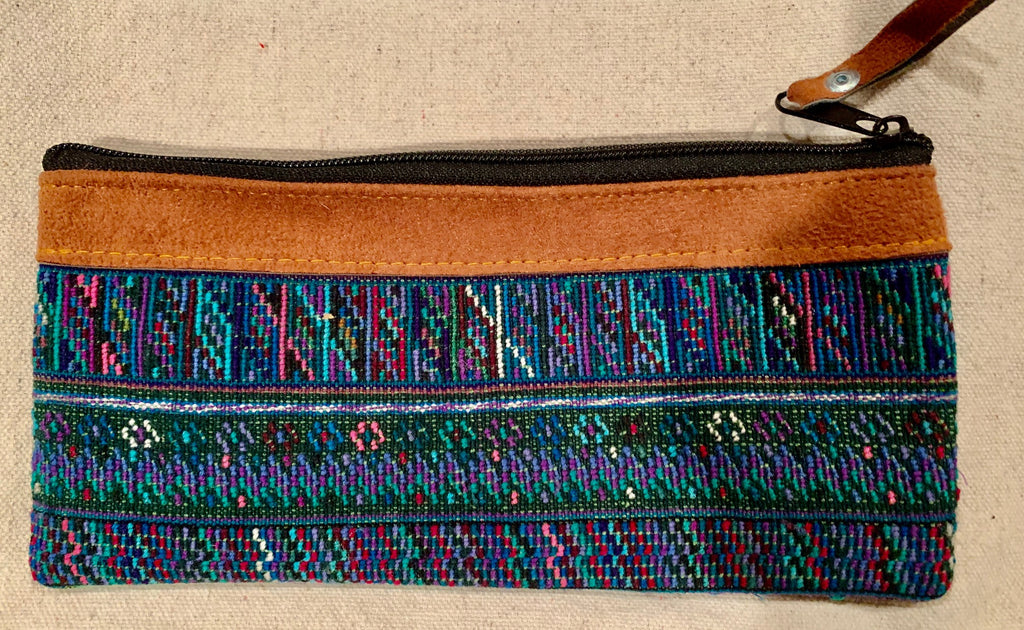 Pouch made from traditional Mayan textiles with leather trim #1