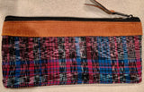Pouch made from traditional Mayan textiles with leather trim #2