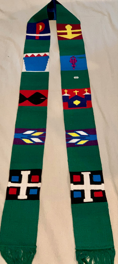 Copy of Clerical Stole w/ Symbols - wide in green