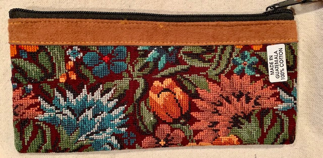 Pouch made from traditional Mayan textiles with leather trim #7