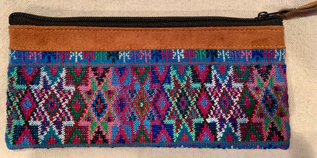 Pouch made from traditional Mayan textiles with leather trim #8