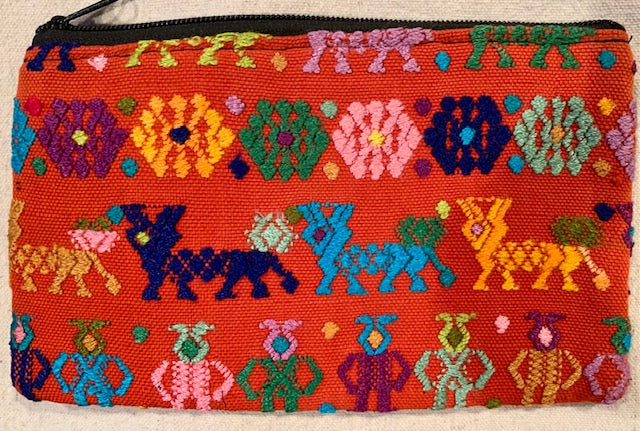 Pouch made from traditional Mayan textiles with reindeer