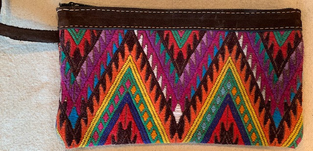 Pouch made from traditional Mayan textiles with leather trim #5