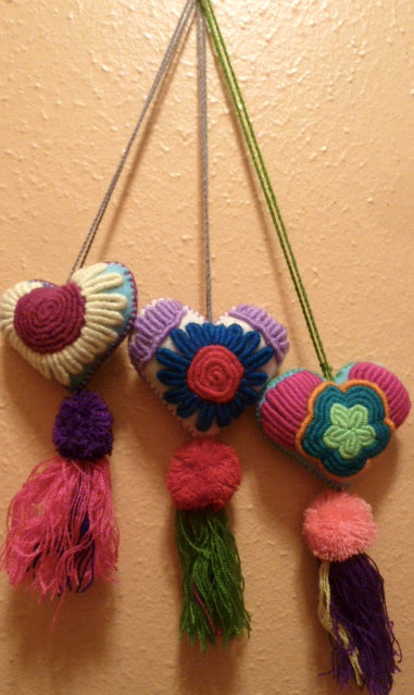 Embroidered Hearts from Chiapas, Mexico