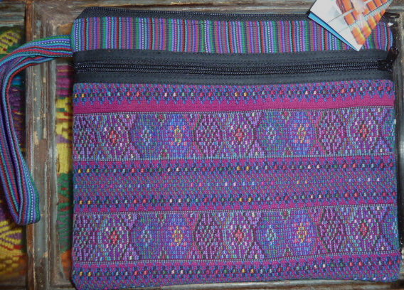 Large Zippered Pouch made from hand-woven fabric #2
