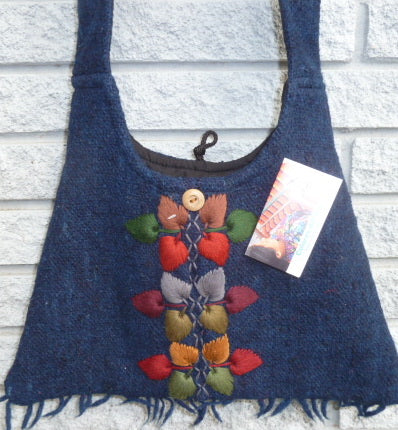 Wool Bag from hand-spun wool in blue