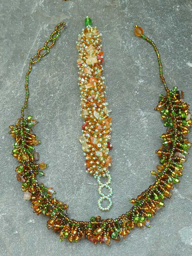 Bead and Stone Necklace #J061