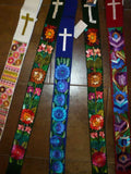 Clerical Stole #7 w/ Hand-embroidered Flowers
