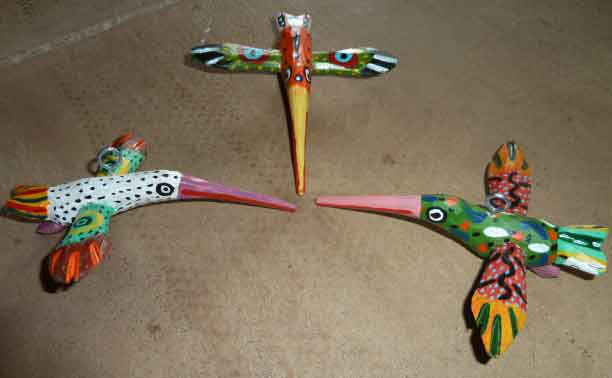 Colorful Wooden Hummingbird Ornaments