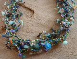 Bead and Stone Necklace - Blue and Green