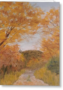 Serene Autumn Path - Greeting Card