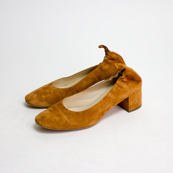 Everlane Day Heels - Cognac Suede & Black