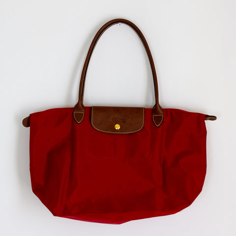 Longchamp Le Pliage Tote Bag L - Black & Red