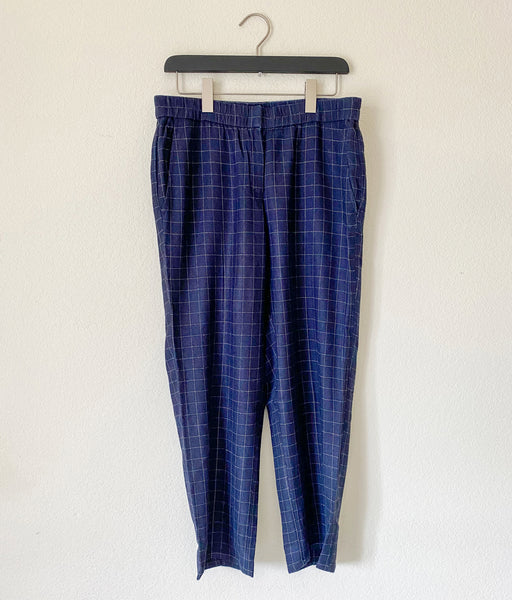 Eileen Fisher Tussah Silk Plaid Pants - Small