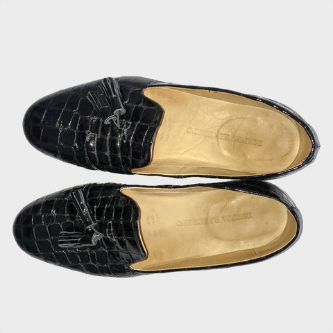 Dieppa Restrepo Gaston Croc-Embossed Patent Leather Loafers - 8 - slowre - 1