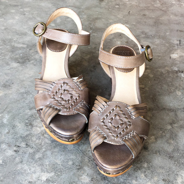 Frye Carlie Huarache Wedge Sandals - 6.5 - slowre - 4